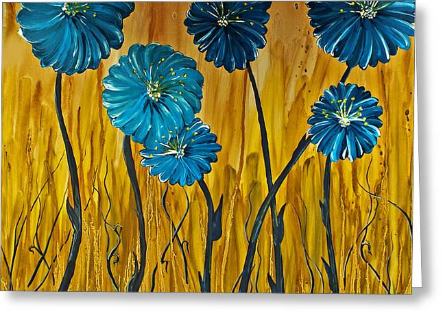 Blue Flowers Greeting Card by Ryan Burton