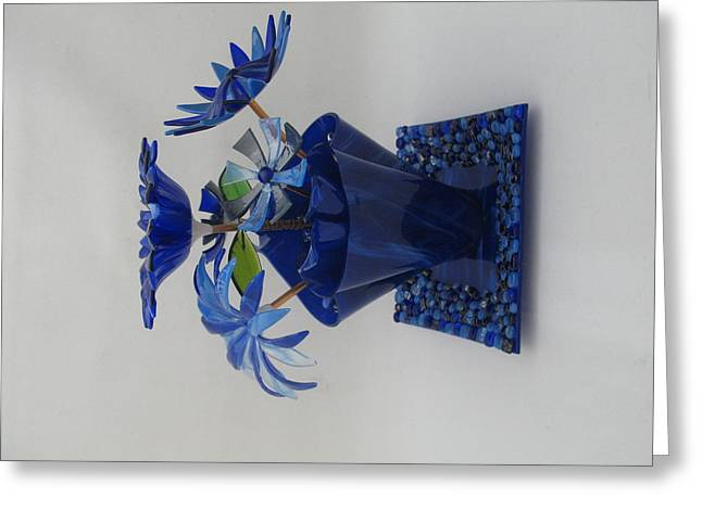 Fused Glass Art Greeting Cards - Blue Flowers Greeting Card by Steven Schramek