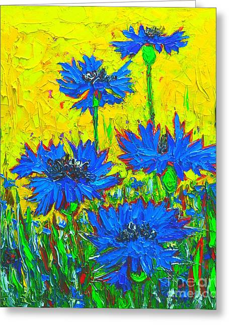 Green And Yellow Abstract Greeting Cards - Blue Flowers - Wild Cornflowers In Sunlight  Greeting Card by Ana Maria Edulescu
