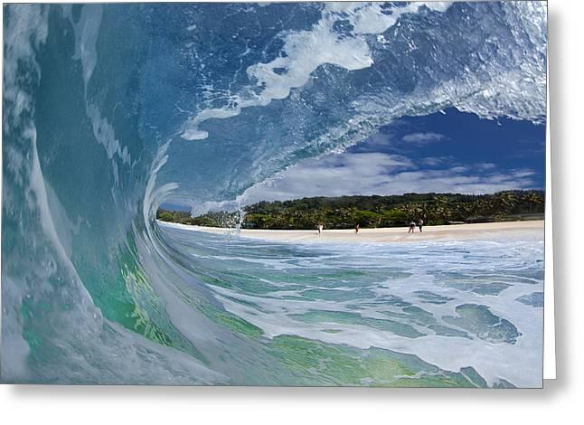 Blue Foam Greeting Card by Sean Davey