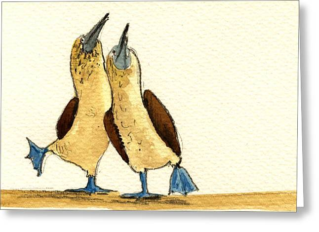 Original Watercolor Greeting Cards - Blue footed boobies Greeting Card by Juan  Bosco