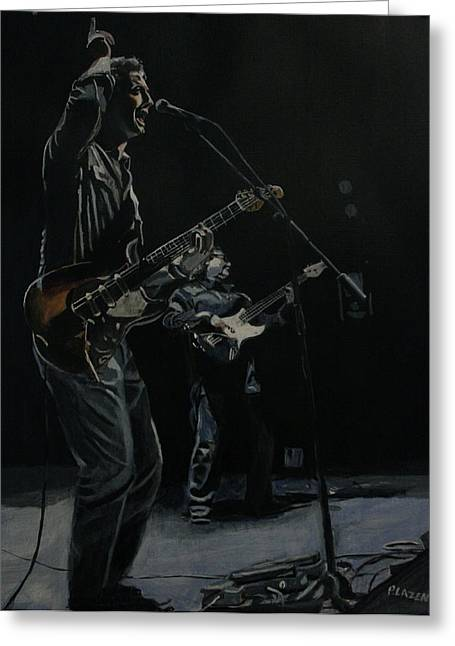 Live Art Greeting Cards - Blue For The Blues Greeting Card by Patricio Lazen
