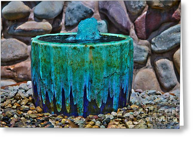 Old Pitcher Greeting Cards - Blue fountain Greeting Card by Claudia Mottram