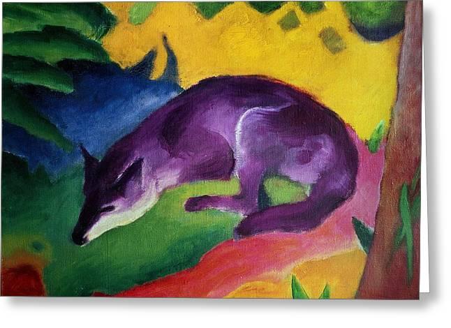 Blue Fox Greeting Card by Franz Marc