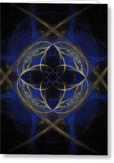 Blue Greeting Cards - Blue Fractal Cross Greeting Card by Bruce Nutting