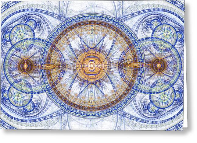 Industrial Background Digital Art Greeting Cards - Blue Fractal inception  Greeting Card by Martin Capek
