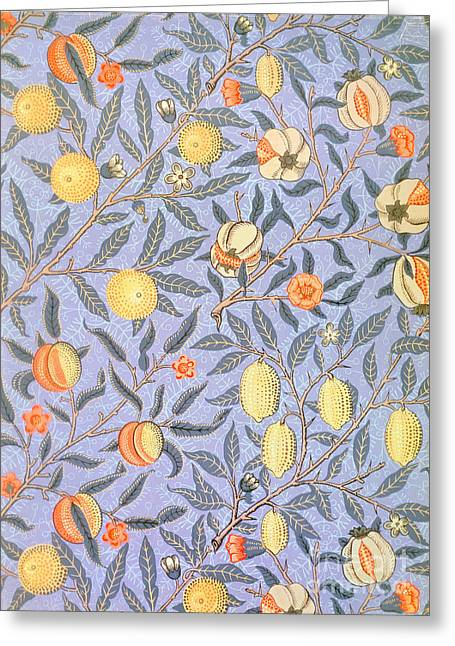 Blue Tapestries - Textiles Greeting Cards - Blue Fruit Greeting Card by William Morris