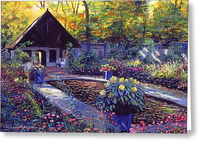 Blue Garden Impression Greeting Card by David Lloyd Glover