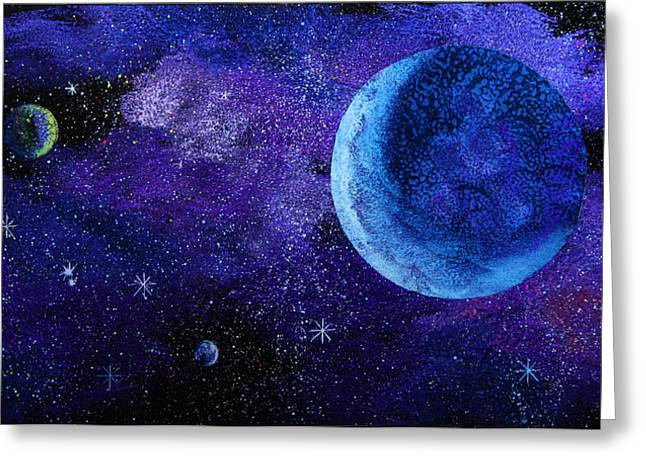 Recently Sold -  - Star Glass Art Greeting Cards - Blue Gas Planet Greeting Card by Wolfgang Finger