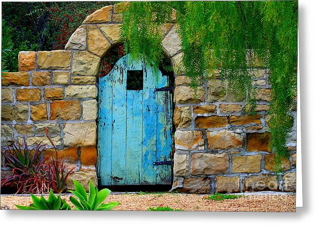 Gate Greeting Cards - Blue Gate Greeting Card by Bill Keiran