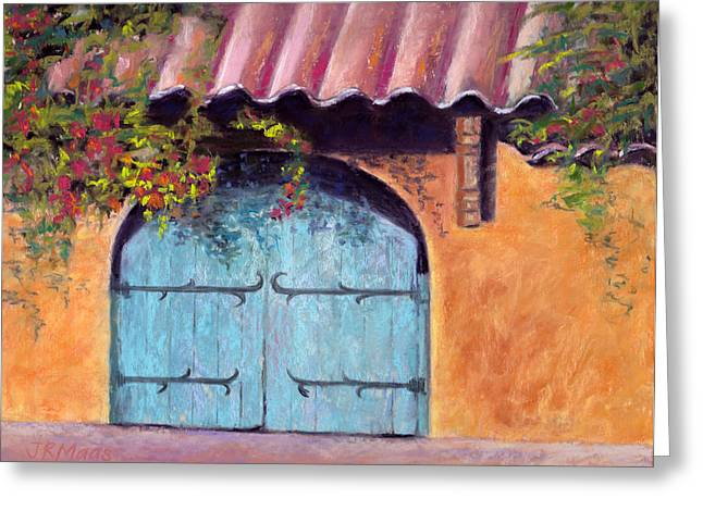 Gate Pastels Greeting Cards - Blue Gate Greeting Card by Julie Maas