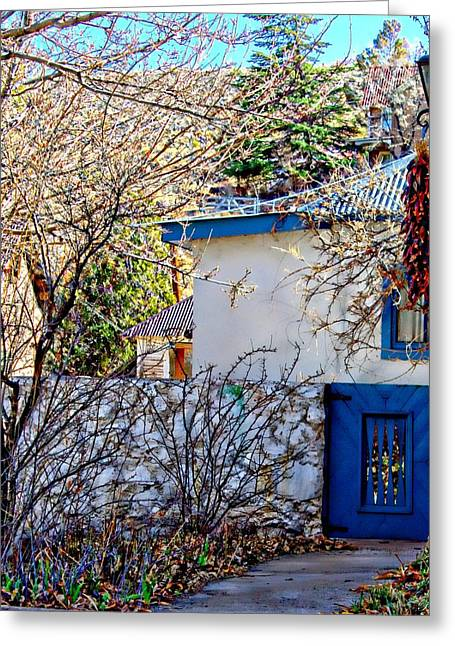 Las Cruces Digital Art Greeting Cards - Blue Gate Ristra Greeting Card by Barbara Chichester