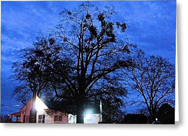 Gloaming Greeting Cards - Blue Georgia Nightfall Greeting Card by James Potts