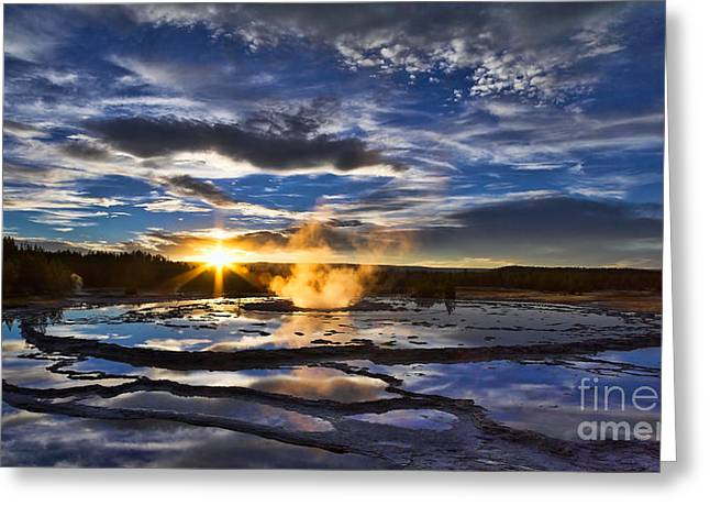 Pm Greeting Cards - Blue Geyser Sunset Greeting Card by Don Hall