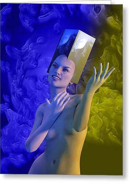 Female. Sensitivity Greeting Cards - Blue girl Greeting Card by Joaquin Abella