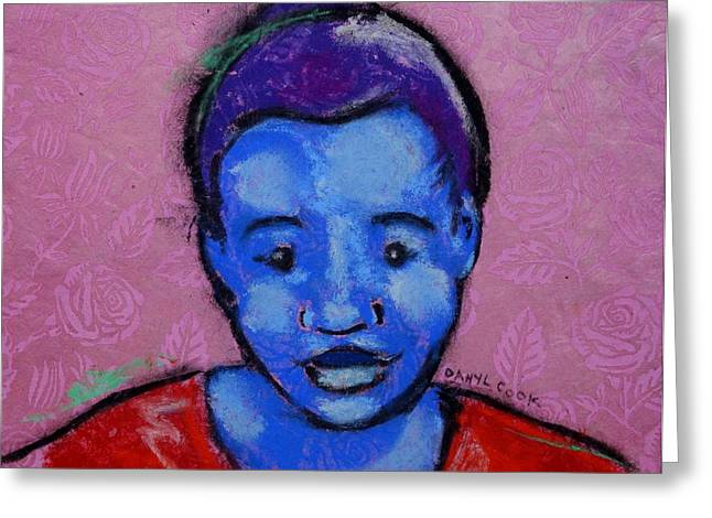 African-americans Pastels Greeting Cards - Blue Girl on Pink Greeting Card by Danyl Cook