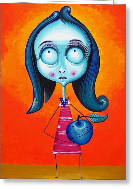 Blau Greeting Cards - Blue Girl with Blue Apple Greeting Card by Tiberiu Soos