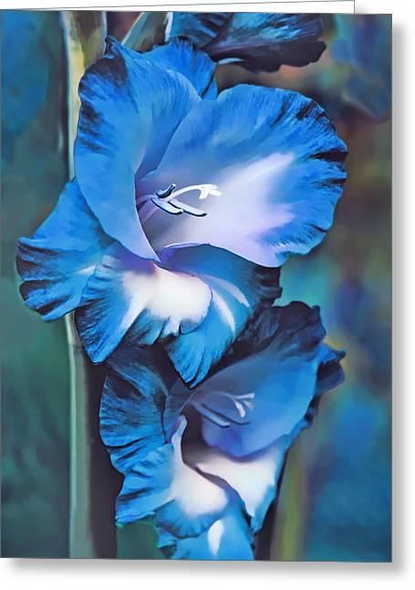 Gladiolas Greeting Cards - Blue Gladiola Flowers Greeting Card by Jennie Marie Schell