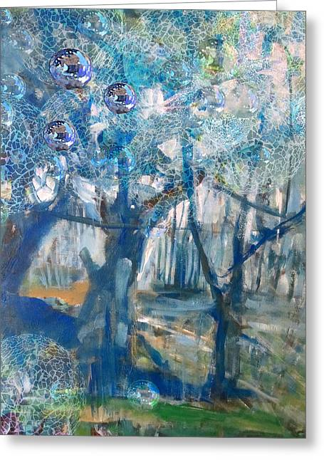 Reflection Harvest Mixed Media Greeting Cards - Blue Glass Bead Tree Greeting Card by John Fish