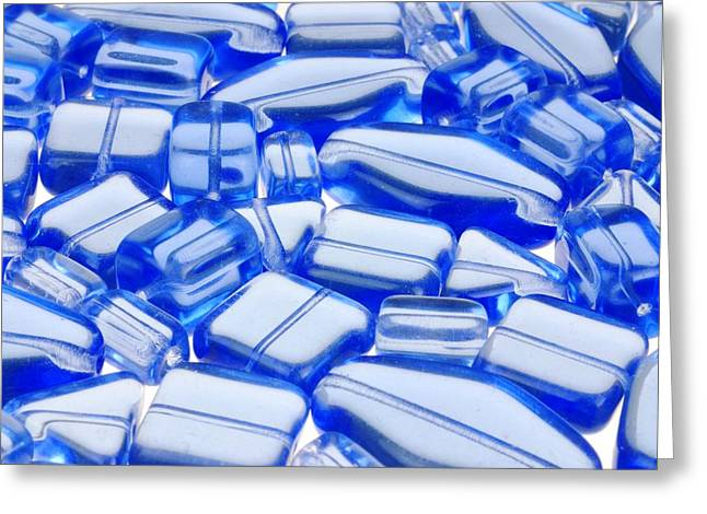 Blue Glass Beads Greeting Card by Jim Hughes