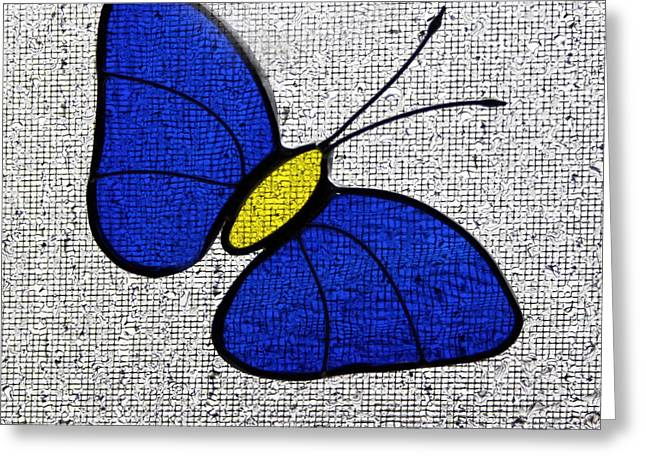 Sunlight Glass Greeting Cards - Blue Glass Butterfly Square Greeting Card by Karen Adams