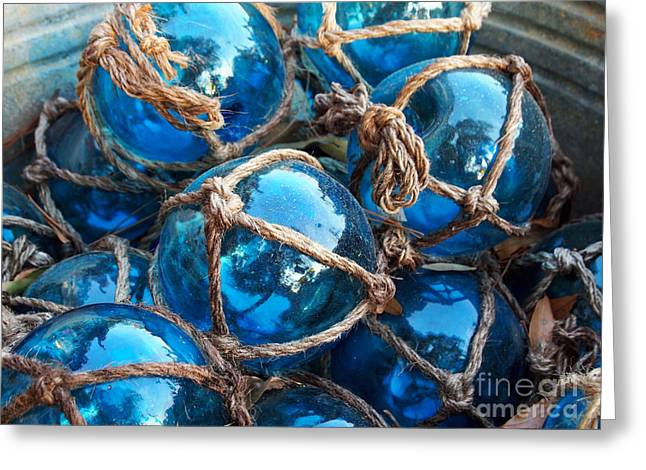 Glass Buoys Greeting Cards - Blue Glass Fishing Floats Greeting Card by Cheryl Moulton