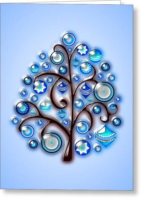 New Year Mixed Media Greeting Cards - Blue Glass Ornaments Greeting Card by Anastasiya Malakhova
