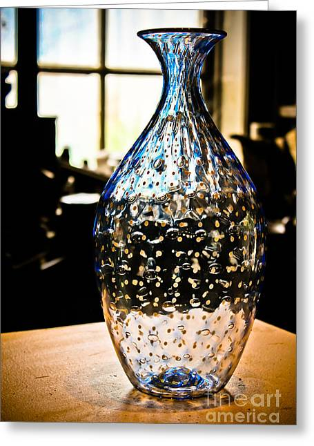 Glasswork Greeting Cards - Blue Glass Vase Greeting Card by Colleen Kammerer