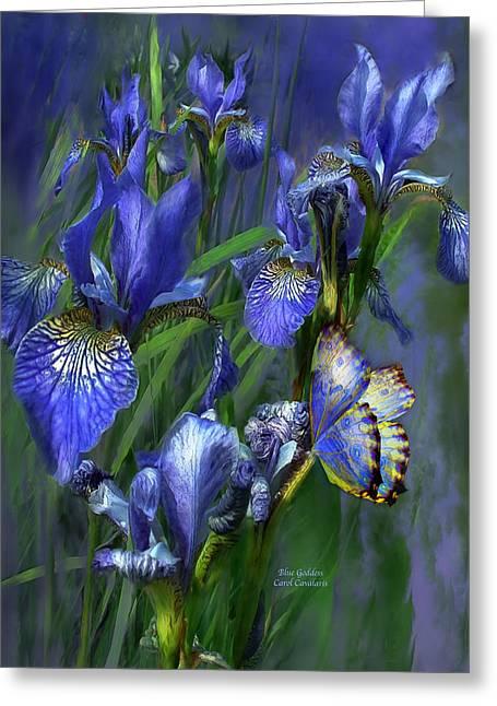 Blue Goddess Greeting Card by Carol Cavalaris