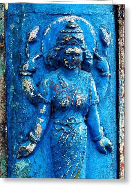 Hindu Goddess Greeting Cards - Blue Goddess Greeting Card by Kim Bemis