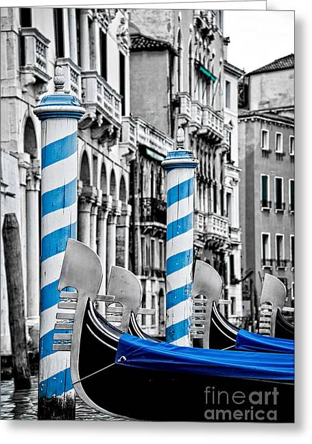 Boat Cruise Greeting Cards - Blue gondolas Greeting Card by Delphimages Photo Creations