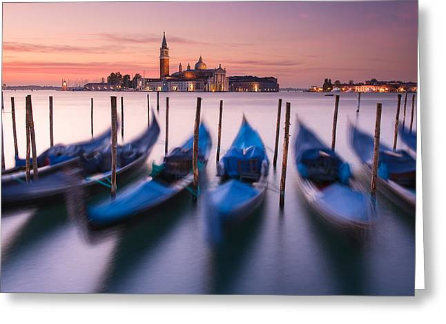 Georgio Greeting Cards - Blue Gondolas Greeting Card by Michael Blanchette