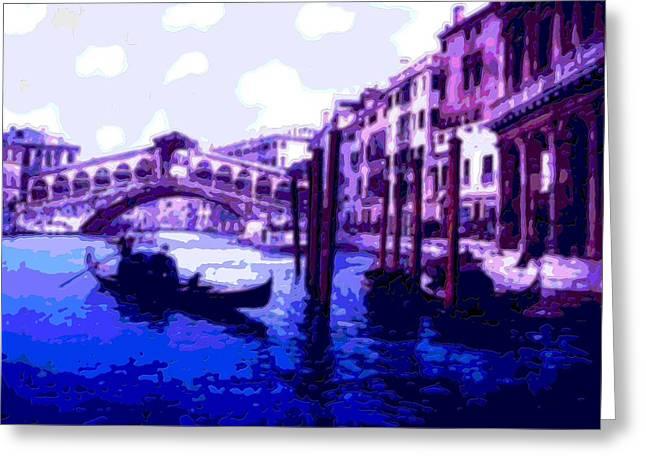 18th Century Mixed Media Greeting Cards - Blue Gondolas Railto Bridge Venice Italy Enhanced   Greeting Card by L Brown