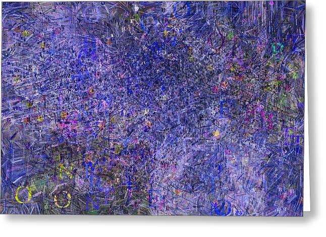 Graffiti Decor Greeting Cards - Blue Graffiti Abstract Painting Greeting Card by Georgiana Romanovna