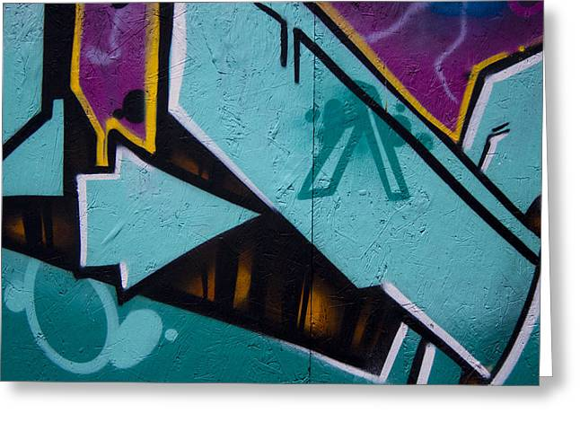 Graffiti Photographs Greeting Cards - Blue Graffiti Arrow Greeting Card by Carol Leigh