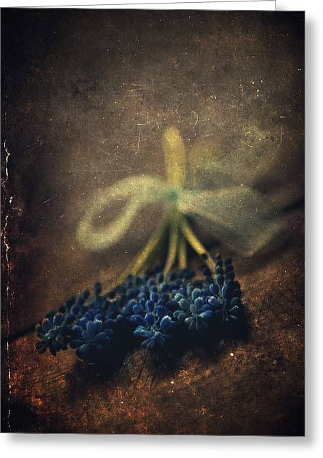 Throw Down Greeting Cards - Blue grape hyacinth flowers on the dark brown surface Greeting Card by Jaroslaw Blaminsky