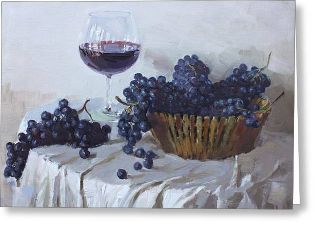 Table Wine Greeting Cards - Blue Grapes and Wine Greeting Card by Ylli Haruni