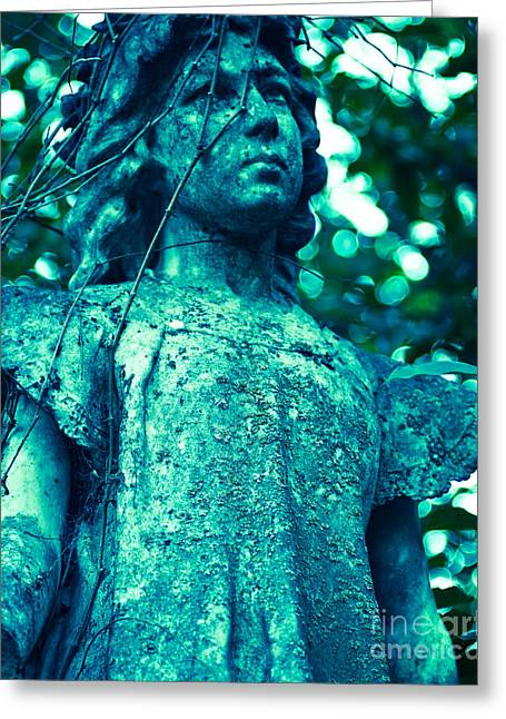 Religious Photographs Greeting Cards - Blue Green Cemetery Greeting Card by Sonja Quintero