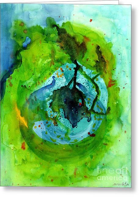 Algae Paintings Greeting Cards - Blue Green Ether Greeting Card by Mukta Gupta