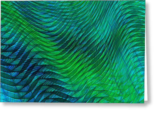 Transparent Fabric Greeting Cards - Blue Green Fabric Abstract Greeting Card by Jane McIlroy