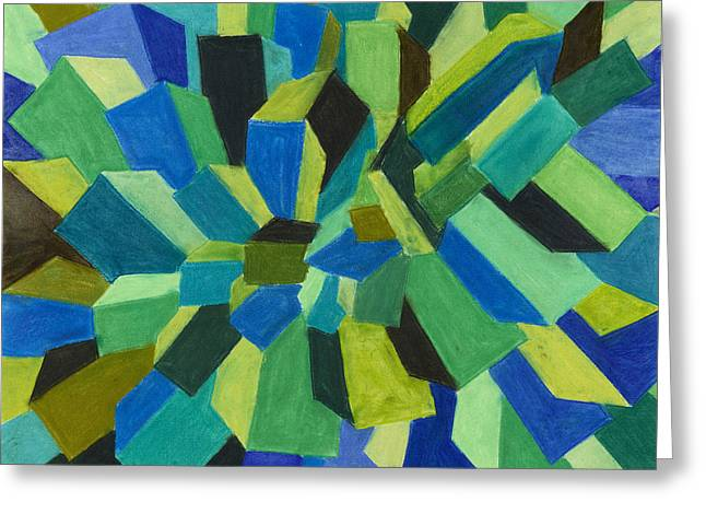 Blue Green Pastel Greeting Card by Sean Corcoran