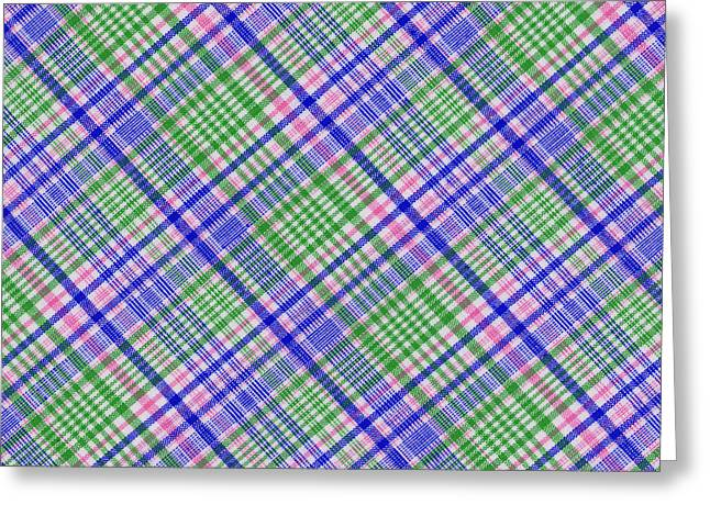 Checked Tablecloths Photographs Greeting Cards - Blue green Pink and White Plaid Textile Background Greeting Card by Keith Webber Jr