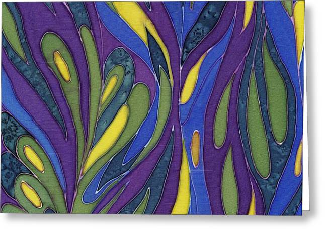 Blue Green Purple Abstract Silk Design Greeting Card by Sharon Freeman