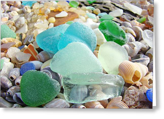 Shell Art Greeting Cards - Blue Green Sea Glass Beach Coastal Seaglass Greeting Card by Baslee Troutman Coastal Art Prints