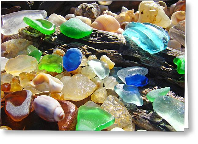 Agate Beach Greeting Cards - Blue Green Seaglass art prinst Agates Shells Greeting Card by Baslee Troutman
