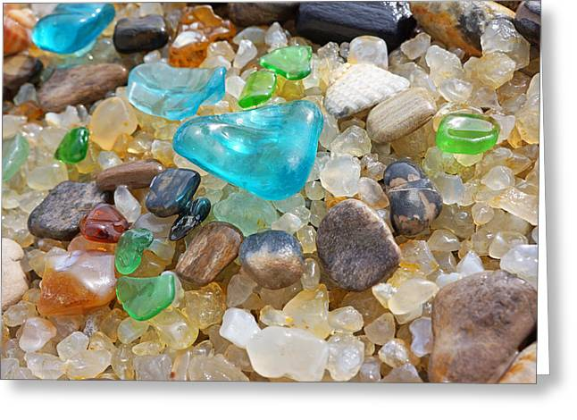 Agate Beach Greeting Cards - Blue Green Seaglass Coastal Beach Baslee Troutman Greeting Card by Baslee Troutman