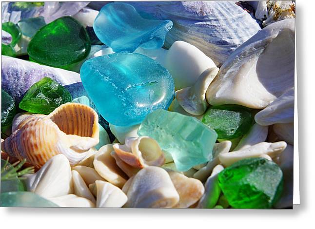 Agate Beach Greeting Cards - Blue Green SEAGLASS Shells Coastal Beach Greeting Card by Baslee Troutman