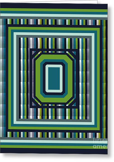 Stripe Tapestries - Textiles Greeting Cards - Blue Green Stripes Duvet Greeting Card by Barbara Griffin