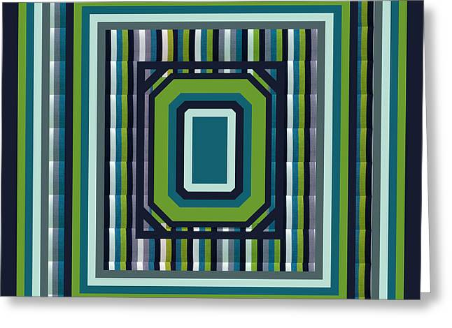 Striped Tapestries - Textiles Greeting Cards - Blue Green Stripes Duvet Greeting Card by Barbara Griffin