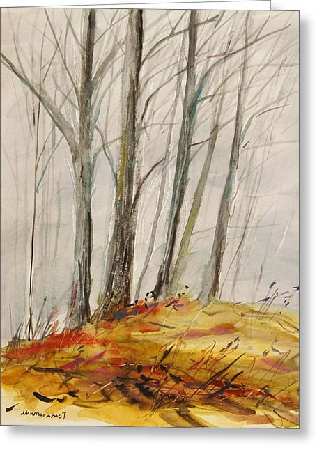 Bare Trees Drawings Greeting Cards - Blue Grey Day Greeting Card by John  Williams